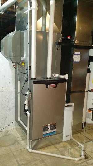 Lennox furnace, Healthy Climate power humidifier and Aprilaire air cleaner installation in Fox River Grove, IL, by Compass Heating and Air Conditioning, Inc.
