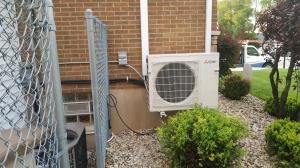Melrose Park, IL MXZ-3C24NA2-U1 outdoor heat pump unit installed as part of a 2-zone cooling and supplemental heating system. 60160