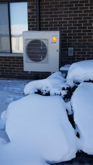 Mitsubishi Hyper Heat H2i 3- zone ductless heat pump providing exceptional heating for our customers during the frigid winter months, in Streamwood, IL.