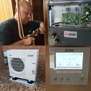 Mitsubishi install collage with P- series air handler, outdoor unit, PAR32MA thermostat controller.