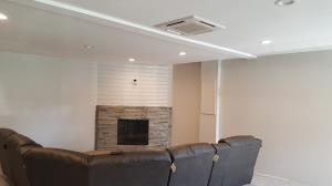 Mitsubishi recessed ceiling cassette installed in a converted garage, located ion Bartlett, IL.