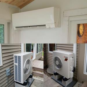 Palatine Sunroom addition being heated and air conditioned by a Mitsubishi Hyper Heat MUZ-FH18NA2 outdoor heat pump unit and          MSZ-FH-18NA2 Delux indoor wall mount unit with i-see sensor