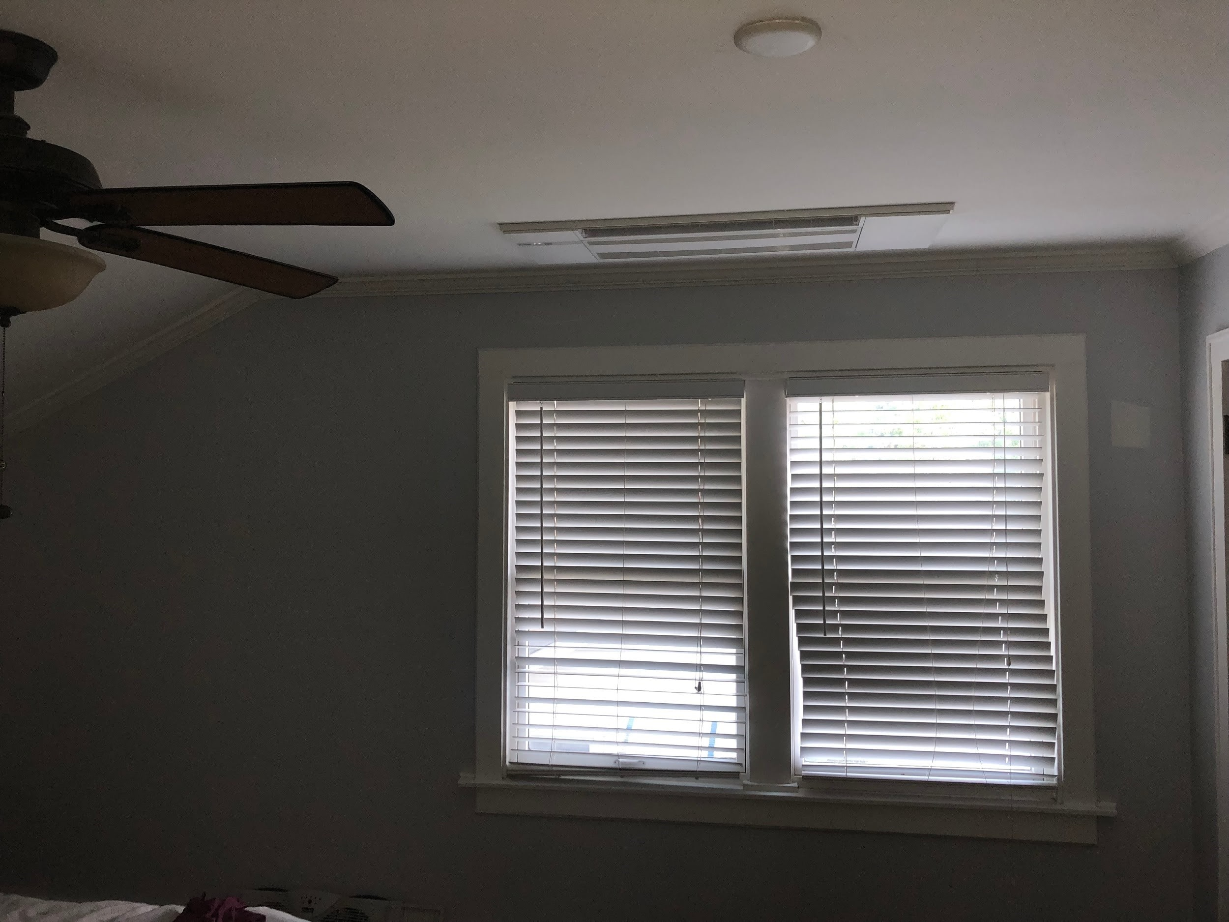 Ductless ceiling cassette in a Mt. Prospect, IL bungalow master bedroom