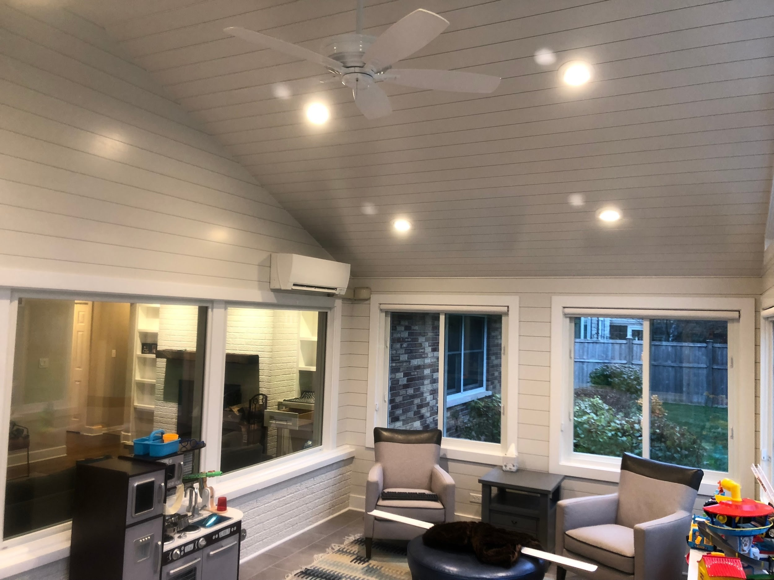 Ductless panel installation in the sunroom of a Wheaton, IL ranch